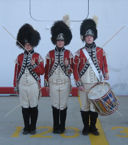 Costumes and drummer at the cruise port in St John, Newfoundland, Canada.