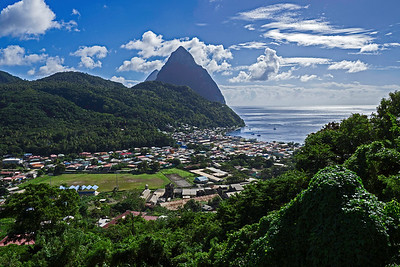 Another look at the Pitons and town of Soufriere