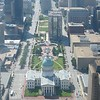 The Old Courthouse and downtown St. Louis from inside the Gateway Arch