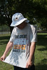 Crescents from tree leave shadows falling on this man's shirt -- Total solar eclipse, Buder Park, southwest St. Louis County, MO, Aug 21, 2017.
