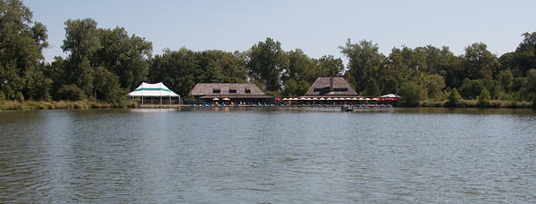 Restaurant and boat house -- A paddle boat trip through the canals and Post-Dispatch Lake of Forest Park, St. Louis