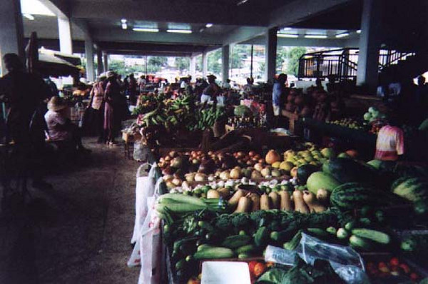 The marketplace at Castries, Reggae blasting and vendors dancing