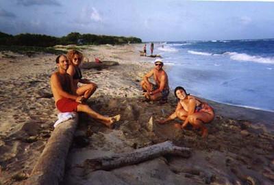 THe beach near the hospital - Paul, Rebecca, unknown and Joanne