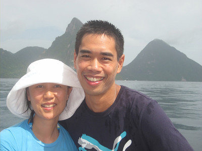 St. Lucia's famous Pitons in the background.
