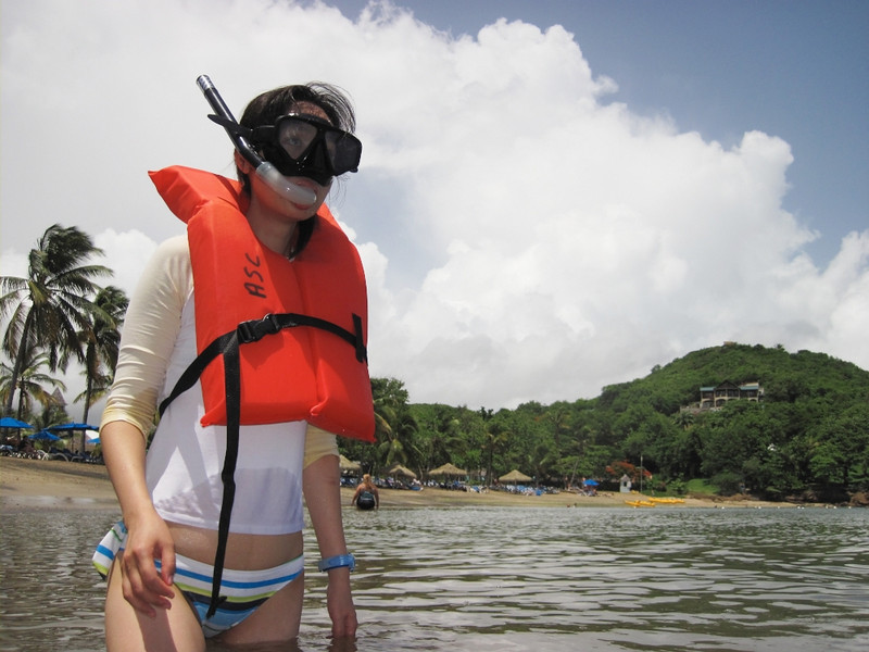 Snorkeling off of our resort.