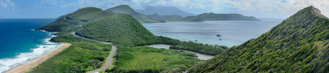 One of the many great views towards the east end of the island, left side of the photo is North Friars Bay, with a view of Nevis on the right