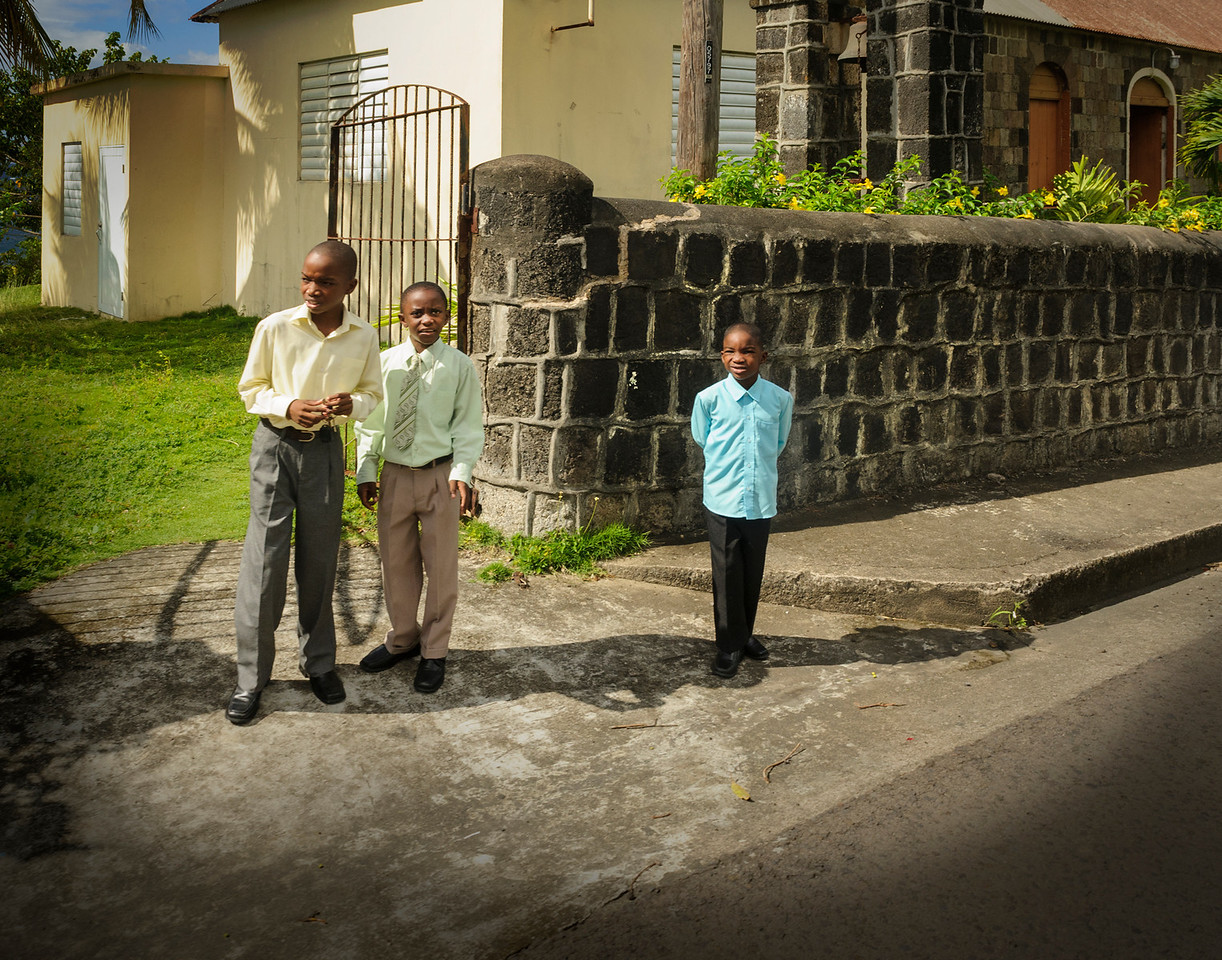 Just after Church, still dressed in their Sunday best, Old Roads, St Kitts