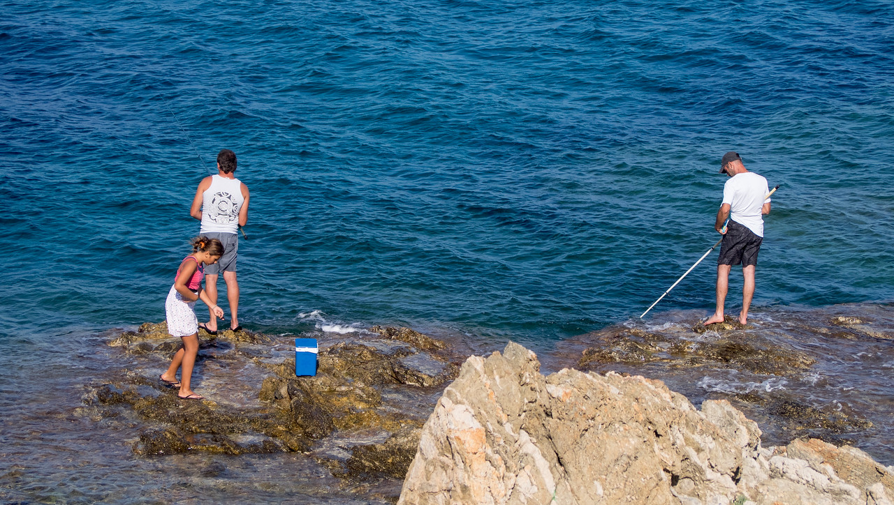 French family fishing just outside St Raphael