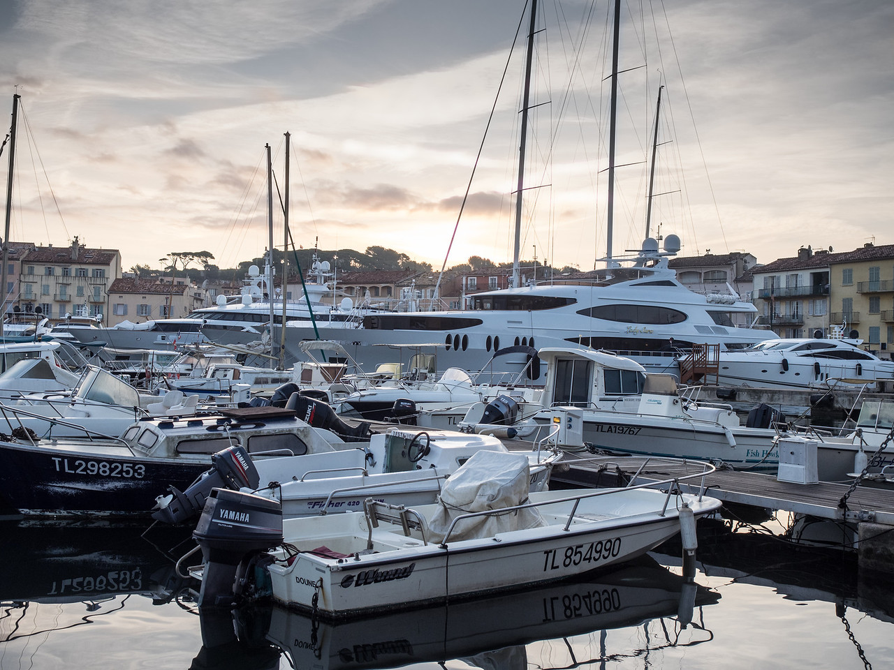 St Tropez harbour at dawn