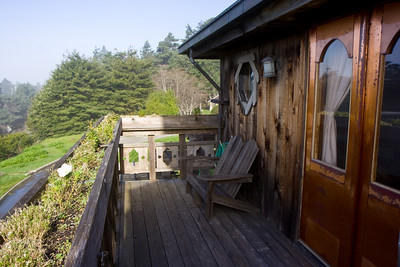 St. Orres, private balcony overlooking highway 1 and the Pacific Ocean.