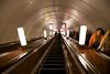 Deep subway (Metro) escalator