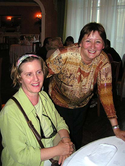 My friend Jo Tyler and our tour leader, Angelina, at the restaurant on our last night in St. Petersburg.