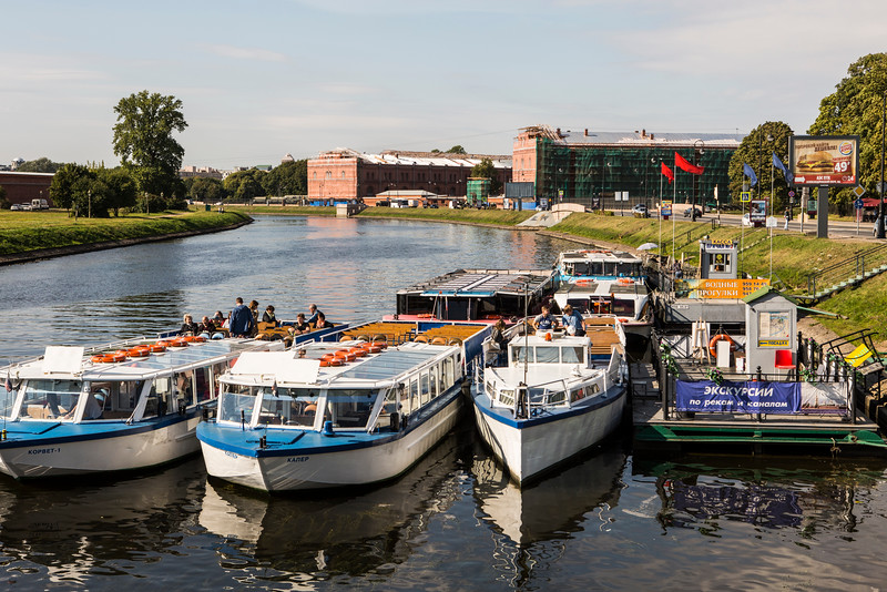 Tourist Boats on a Branch of the Neva River