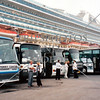Tour buses wait in line at the cruise port of St Petersburg, Russia.