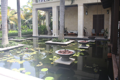 Pond with koi fish on both sides of entrance