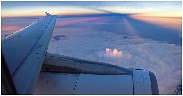 En route to Guatemala, the sun sets over Mexico's Yucatan Peninsula.