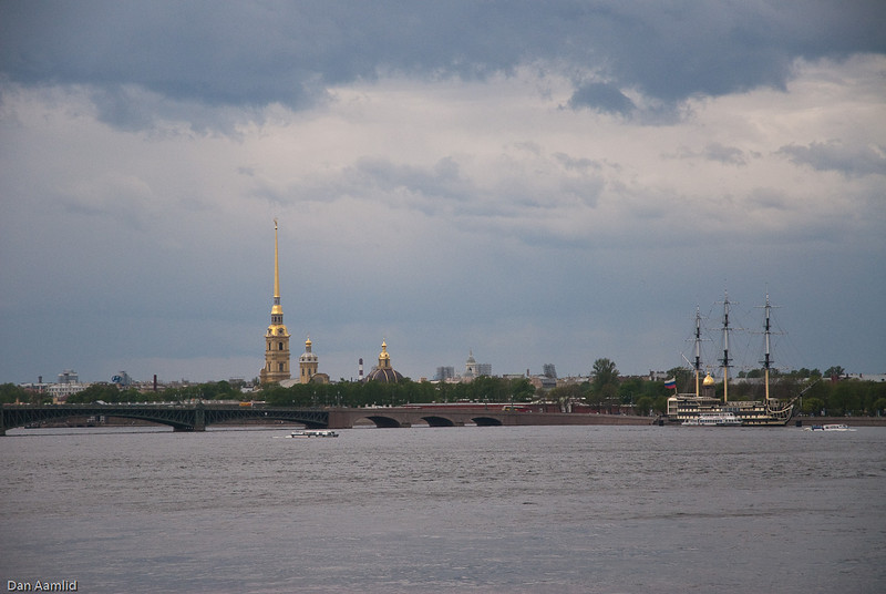 The Peter and Paul Cathedral is located inside the Peter and Paul Fortress in St. Petersburg, Russia. From River Neva,