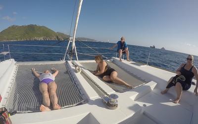 Judi and Myra gettin wet on the sailing