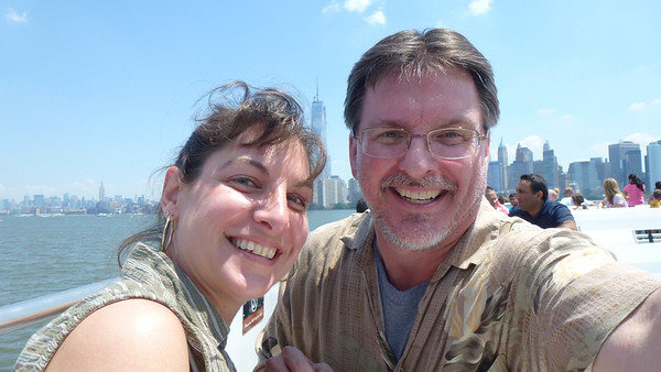 Us on the ferry. (the One World Trade Center -- formerly known as the Freedom Tower is behind us).