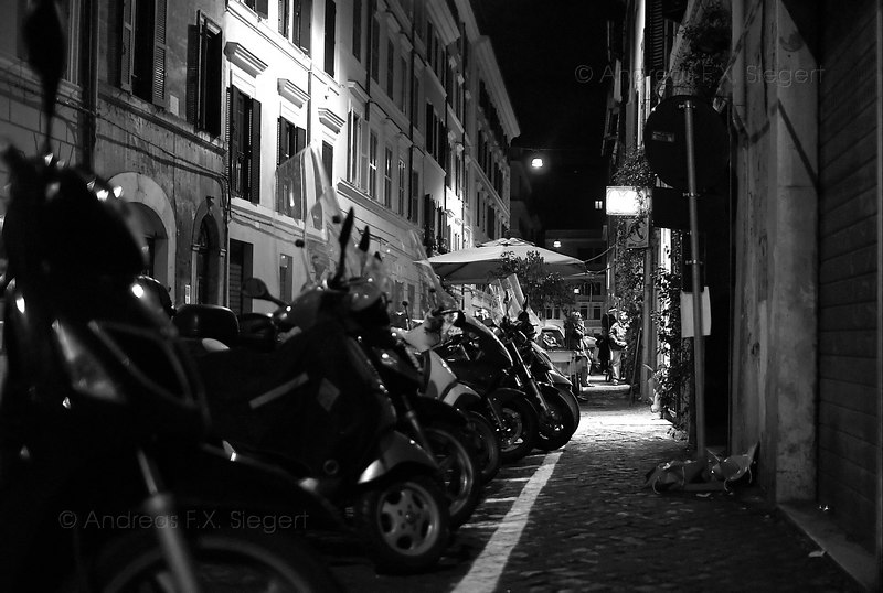 Scooters at night