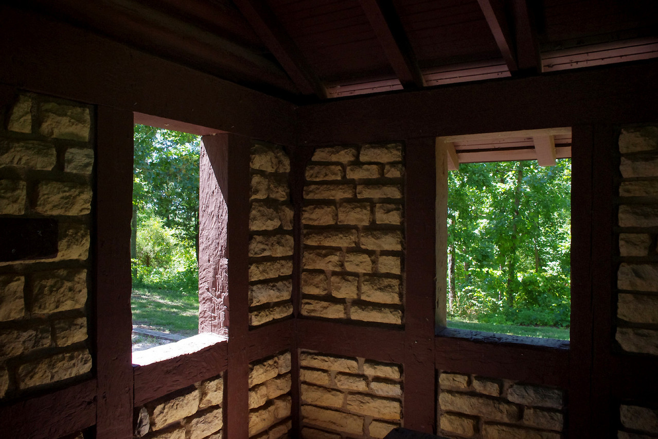 Interior, Civilian Conservation Corps, pavillion.  Washington State Park, Missouri.
