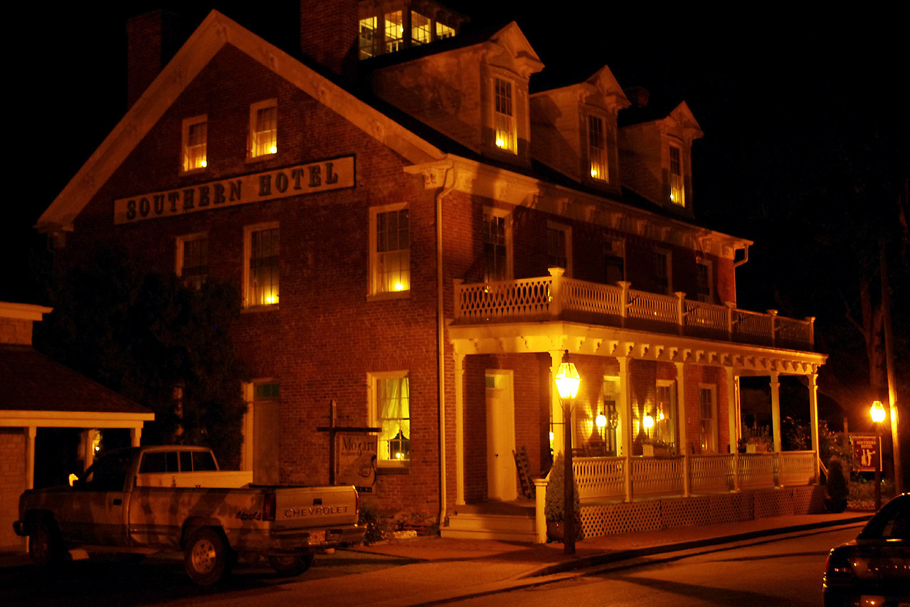 Southern Hotel at night. Saint Genevieve, Missouri.