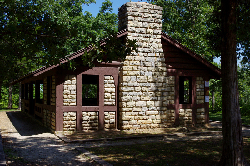An African-American company of the Civilian Conservation Corps, built this pavillion in the early 1930s.  Washington State Park, near De Soto, Missouri.