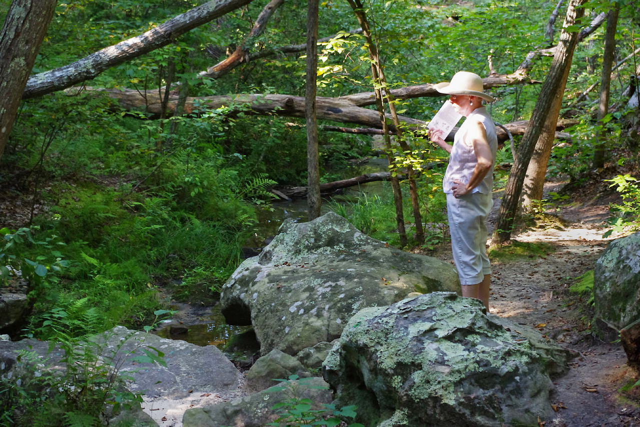 Rita on the trail, Pickle Creek Natural Area near Ste Genevieve, Missouri.