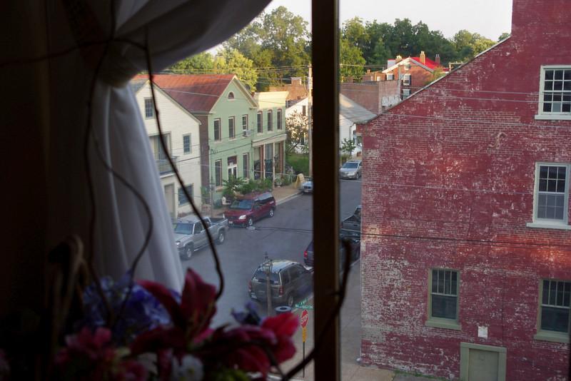 View of Main Street from the 3rd floor window of the Main Street Inn, Saint Genevieve, Missouri.