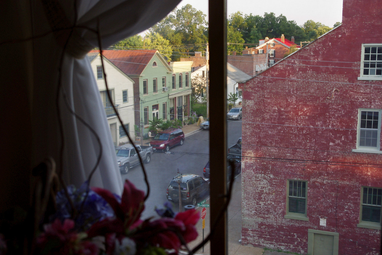 View of Main Street from the 3rd floor window of the Main Street Inn, Saint Genevieve, Missouri.