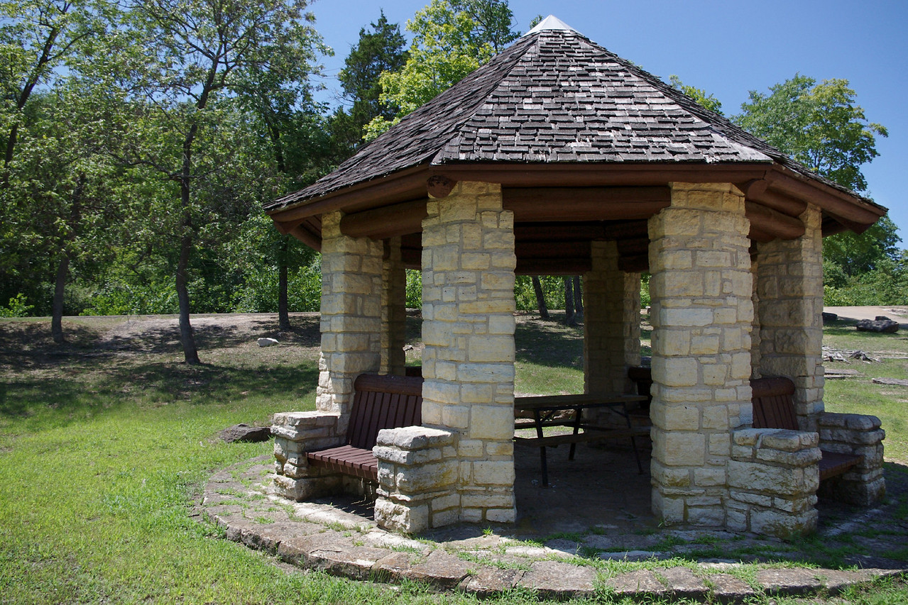 An African-American company of the Civilian Conservation Corps, built this octagonal lookout shelter in the early 1930s.  Washington State Park, near De Soto, Missouri.