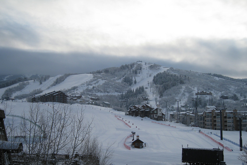 Early morning looking up the hill at the Steamboat ski area.