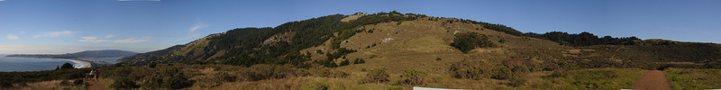 Here is a 180+ degree panorama taken from the Dipsea trail.  You can see most of our hike from here.  We started from the beach, climbed up in the biggest valley of trees just to the left of center in the photo, walked along the ridge to the right, then descended through the trees on the right, then came back on the trail to the right (which is of course right next to the trail on the left).