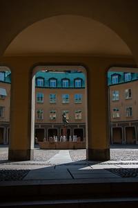 Lars johan hierta monument at Riddarhustorget, Stockholm, Sweden