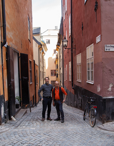 Jon and Murat  posed at this narrow alley.  Jon owns a Paris fashion shop nearby.