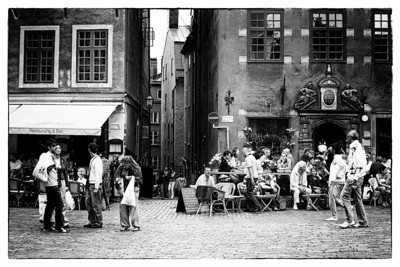 Cafe in Gamla Stan (Old City) - Stockholm   - edited with NIK Film Noir 3 Filter