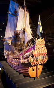 A model of the ship - Swedish Warship Vasa http://en.wikipedia.org/wiki/Vasa_(ship) it didn't make it out of the harbor before it sank on it's maiden voyage...