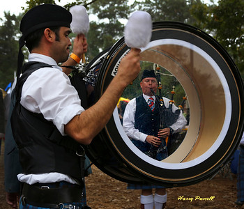 A piper band practicing the traditional Scottish tunes.