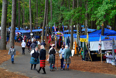 Clan tents in the forest of Stone Mountain.