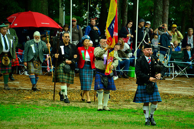Margaret, Clan Chief of the Elliott Clan, is escorted to the reviewing stand to open the festivities.