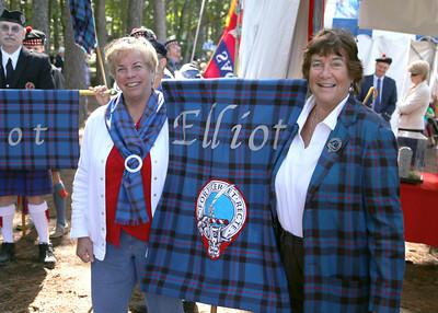 Judi & Carol with the Elliott Clan banner