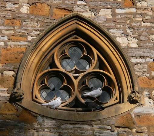 Doves on the church where Shakespeare's buried