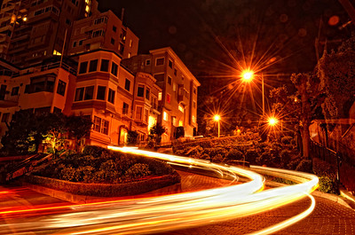 Crooked Street San Francisco with Headlight trail