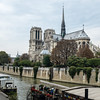 View of Notre Dame and busy Seine