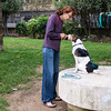 Training her dog