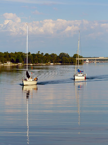 Idyllic boating in the early morning