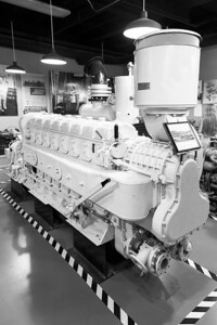 A 16-cylinder marine diesel engine in the Museum