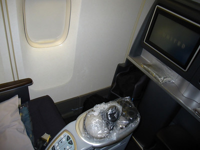 My business class pod.  The bed folds out completely flat.  It was pretty comfortable even though it was an ~11 hour flight.