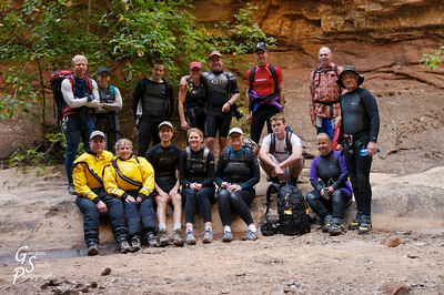 Once inside the slot canyon, everyone changed into wetsuits, dry suits or whatever we happened to have.