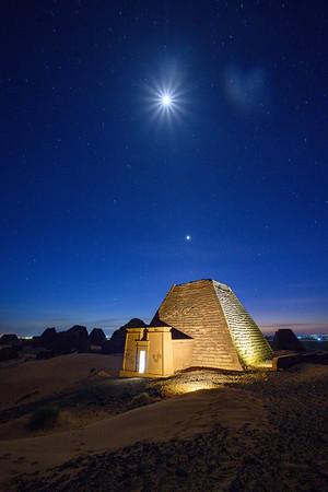 Lightpainting of Meroe Pyramid